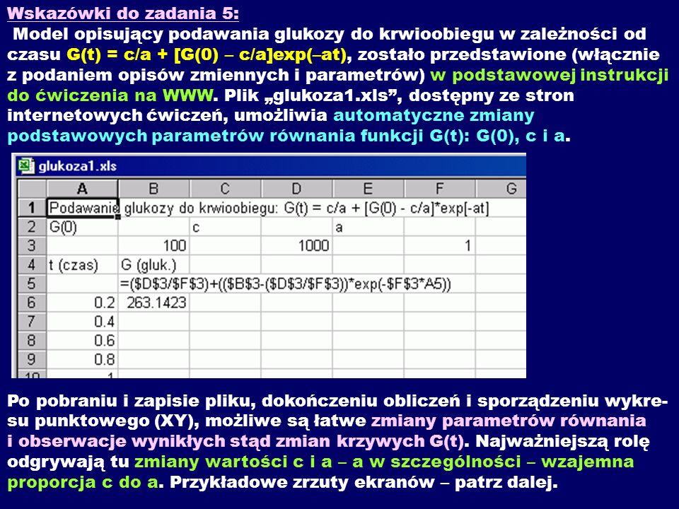 Wskazówki do zadania 5: Model opisujący podawania glukozy do krwioobiegu w zależności od czasu G(t) = c/a + [G(0) – c/a]exp(–at), zostało przedstawione (włącznie z podaniem opisów zmiennych i parametrów) w podstawowej instrukcji do ćwiczenia na WWW.